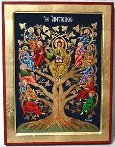 IKONE-Jesus-Christus-mit-12-Heilige-Apostel-Ikonen-Icon-Weinstock-Lebensbaum
