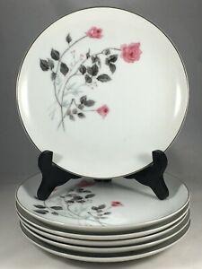 Set-of-6-Arita-China-Japan-Pink-Rose-Flower-7-5-8-034-Salad-Plates