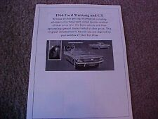 1966 Ford Mustang and GT factory cost/dealer sticker prices for car & options $$