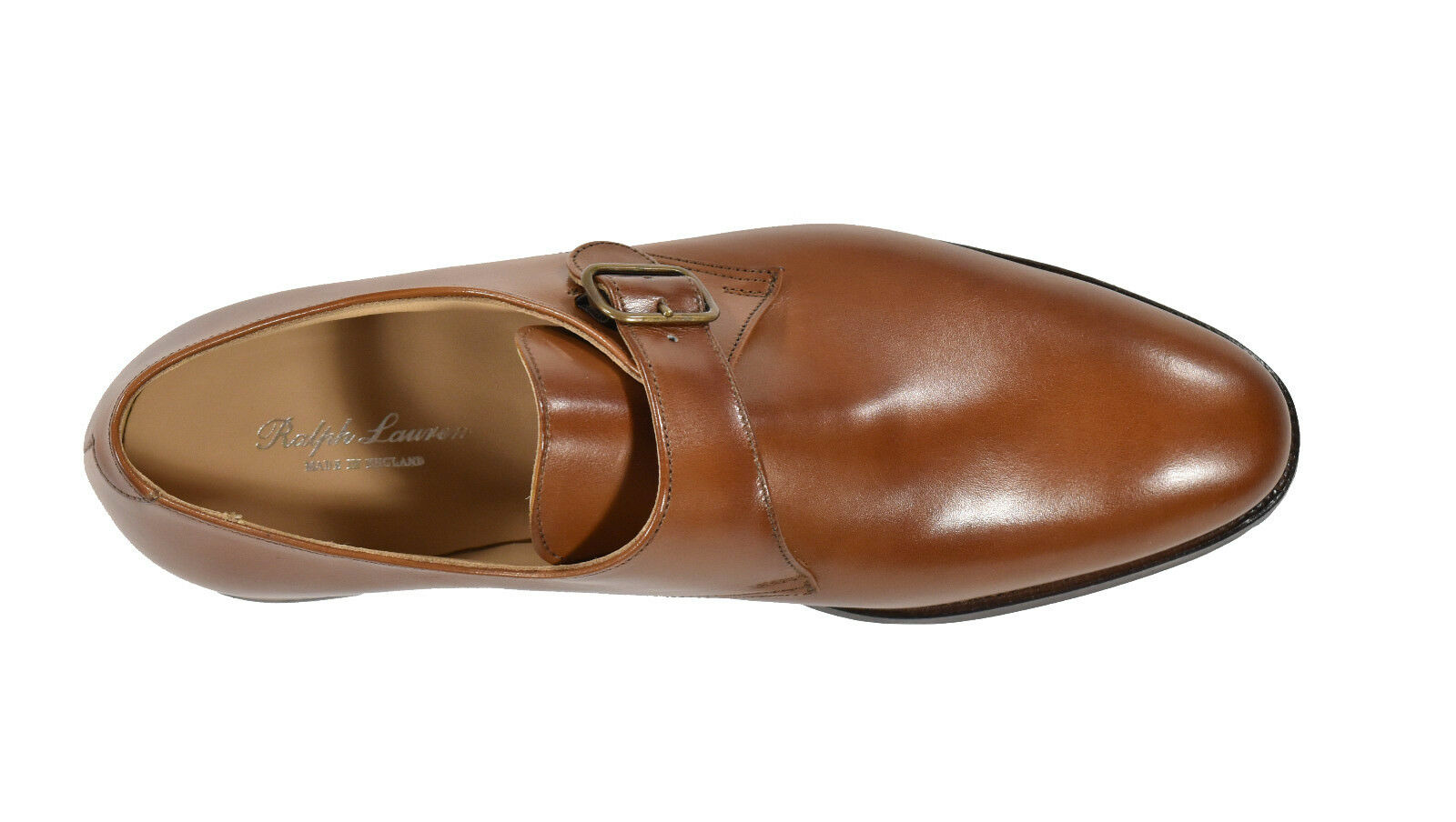 Ralph Lauren Crockett & Jones Tan Pelle Pelle Pelle Roundwood Monkstrap Shoes New  895 3f71cd