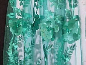 1-Yard-Embroidered-Lace-Fabric-for-Dress-3D-Roses-applique-Beaded-and-Pearls