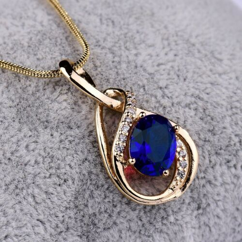"""Chic Women Party Blue Sapphire Crystal Silver Gold Filled Pendant Necklace 18/"""""""
