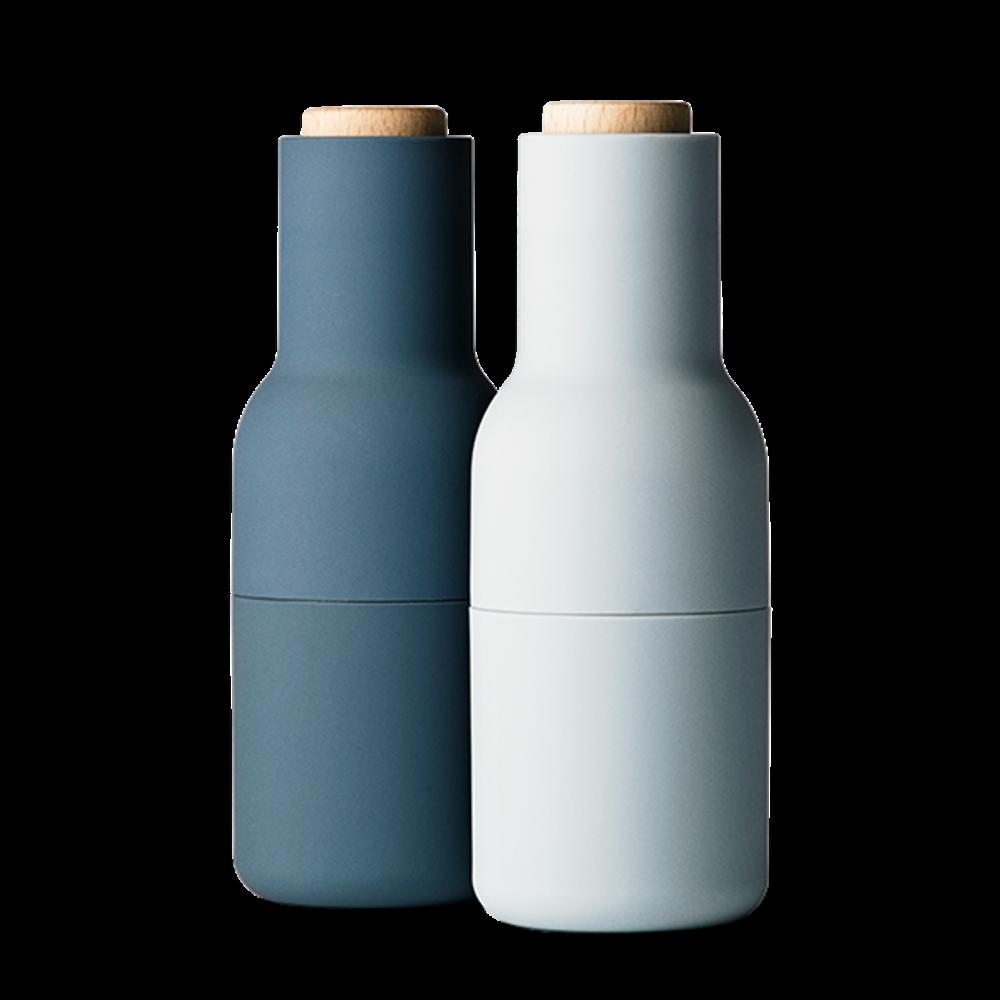 Menu petite bouteille Grinders Avec en Bois haut-Lot de 2-bleus