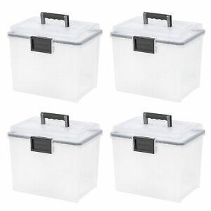 IRIS-USA-19-Quart-Letter-Size-Portable-Weathertight-File-Box-Clear-4-Pack