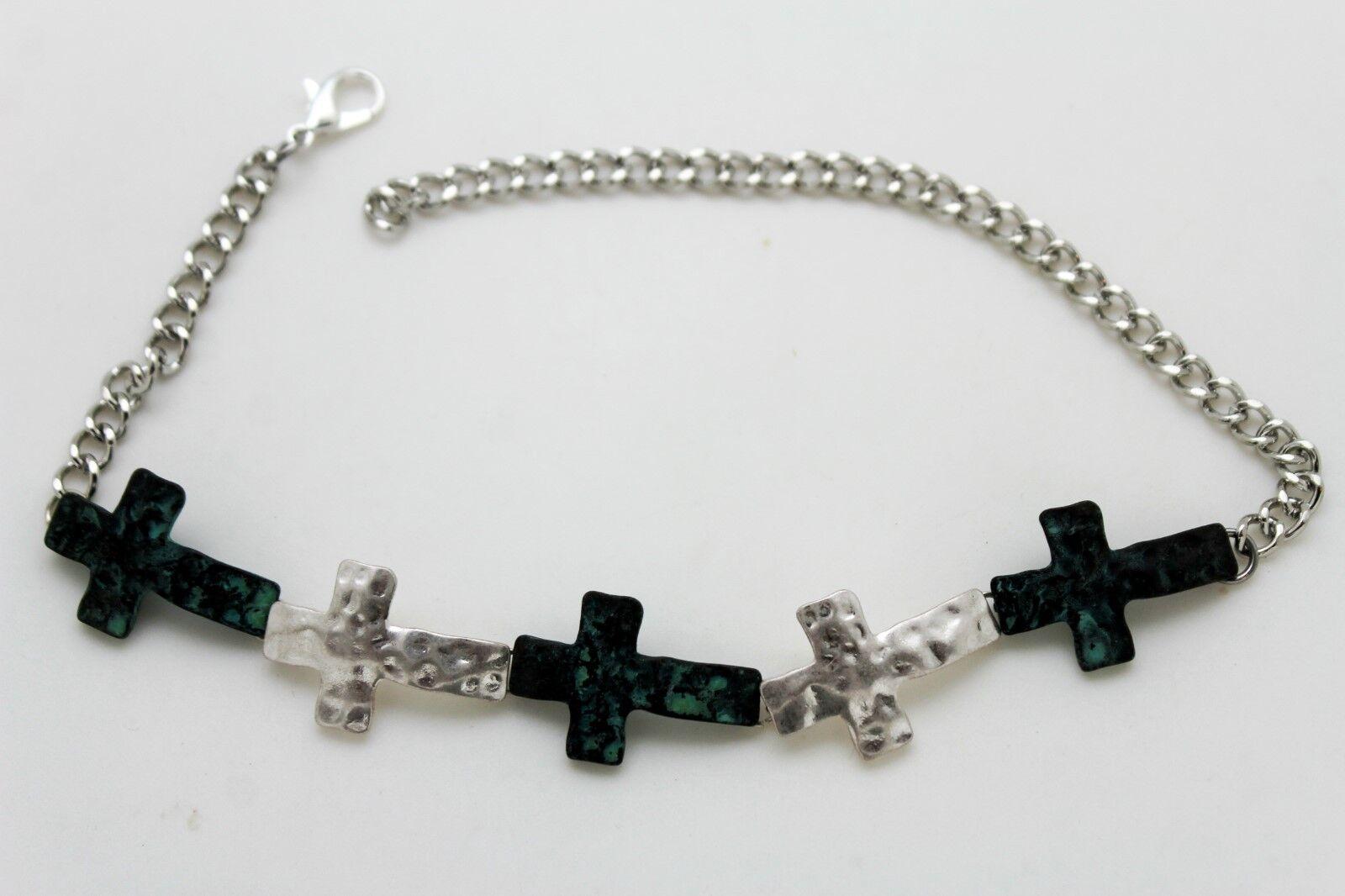 ! Women Silver Boot Chain Bracelet Heel Shoe Turquoise Blue Cross Charm Jewelry