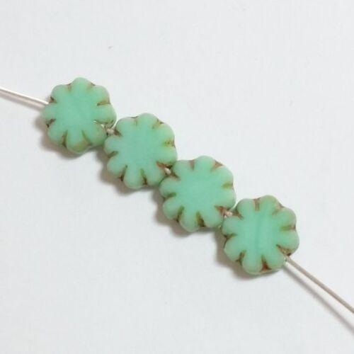 Verde Flor De Cristal Checo Perlas 9mm Tabla corte Bohemio Joyería Artesanía GB43 6 un