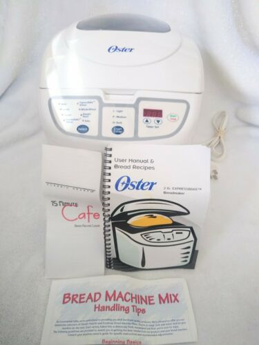 Oster Expressbake Breadmaker 2 Lb White EUC w/ 5838 Manual Recipes CKSTBRTW20