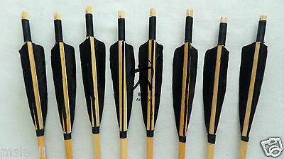 8Pcs Handmade Wooden Arrows Black Shield Feather for Recurve Bow Archery longbow