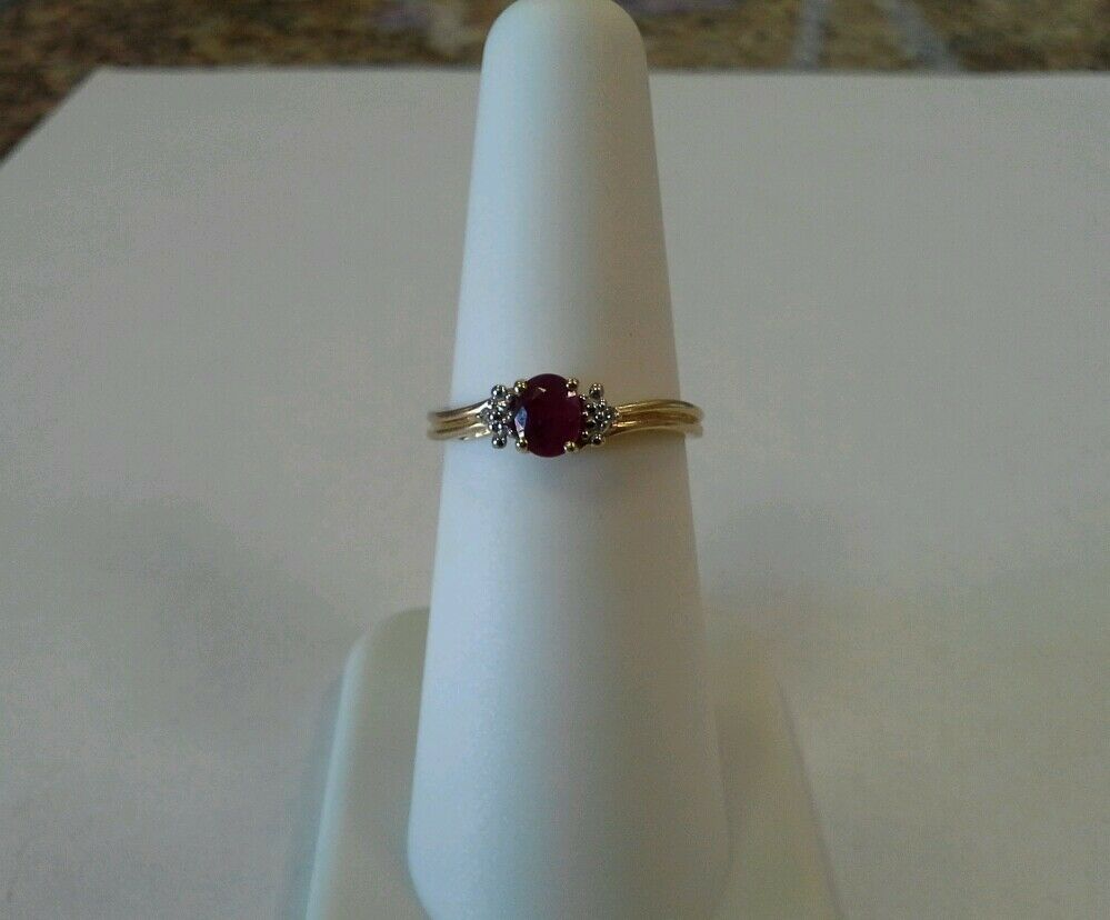 14k Yellow gold Genuine Ruby Ring with Diamond Accents