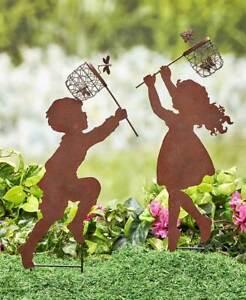 Children-Silhouette-Chasing-Boy-Girl-Yard-Garden-Metal-Stake-Rustic-Decor-20-039-039-H