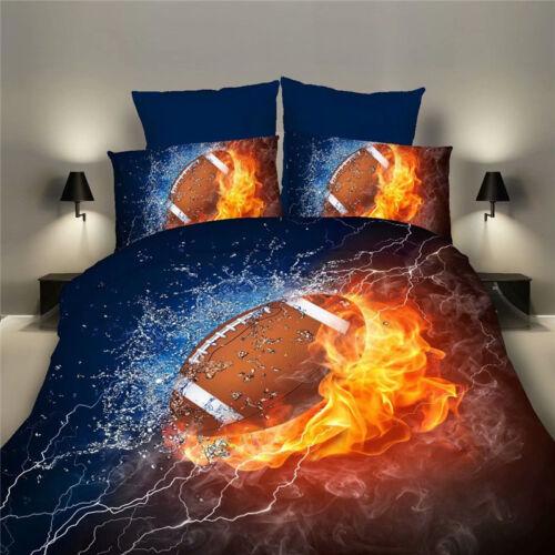 3D Duvet Quilt Cover Pillowcase Bedding Set Football Basketball Rugby All Size
