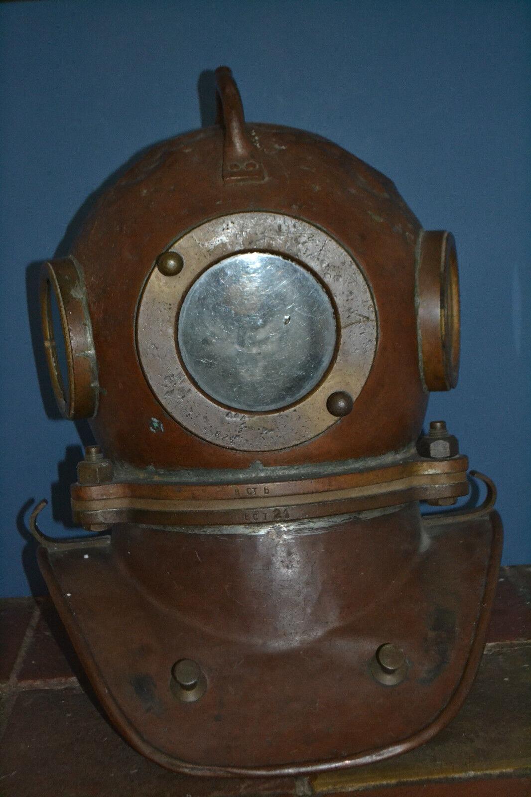 Genuine Antique Mid 20th century Russian 3 Bolt Copper Diving Helmet,c 1960