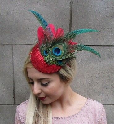 Royal Blue Sequin Peacock Statement Feather Fascinator Races Pillbox Hat 4999