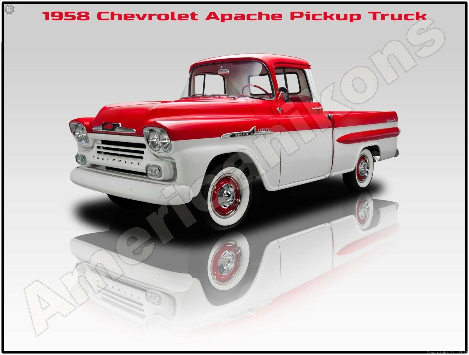 Pristine Restoration! 1958 Chevrolet Apache Pickup Truck New Metal Sign