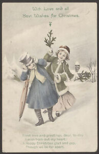 Christmas-Postcard-034-Fond-Love-amp-Greetings-Dear-To-day-034-Girls-in-the-Snow-c1930