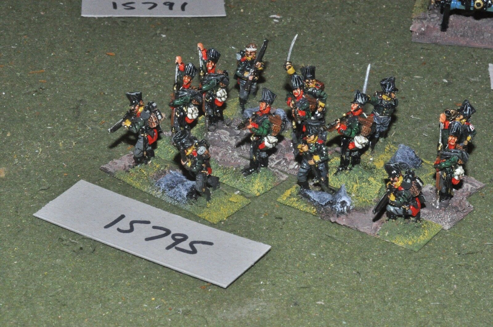 25mm napoleonic   prussian - jagers 14 figs painted by mac warren - inf (15795)