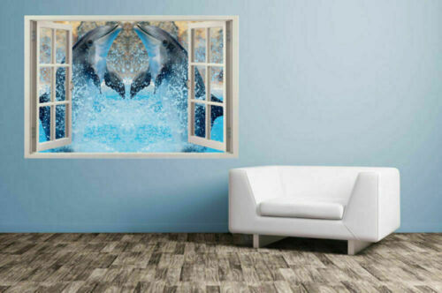 3D wild dolphins views Sticker Removable outside window Mural Wall Decal Vinyl