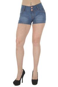 Plus Size, Butt Lifting, Levanta Cola, Mid Waist Denim Shorts