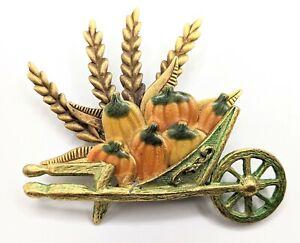 Vintage Copper and Enameled Harvest Pumpkin in Wheel Barrow Brooch Fall
