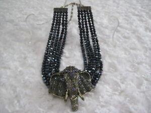 HEIDI-DAUS-034-Chic-Sheik-034-Tanzanite-Beaded-Elephant-Necklace-Orig-299-95-LAST-1