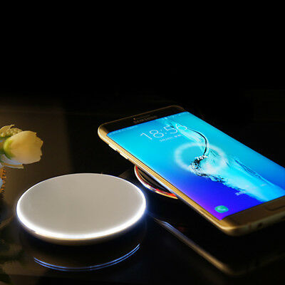 QI Wireless Phone Fast Charging LED Light Indicator Pad Plate for iPhone 8 / X