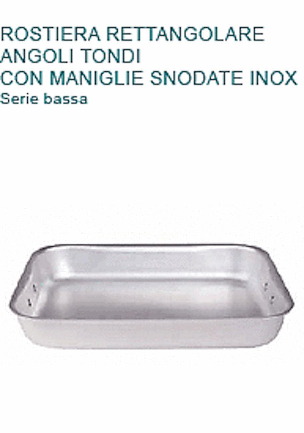 ROSTIERA In Alluminio cm 60X40X6H Con 2 MANIGLIE Professionale Pentole Agnelli
