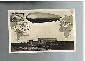 1930 Deutschland Graf Zeppelin RPPC Postkarte Abdeckung Lz 127 Südamerika Flight