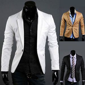 FITTED Blazer Mens Slim One Button Long Sleeve Suit Jacket New ...