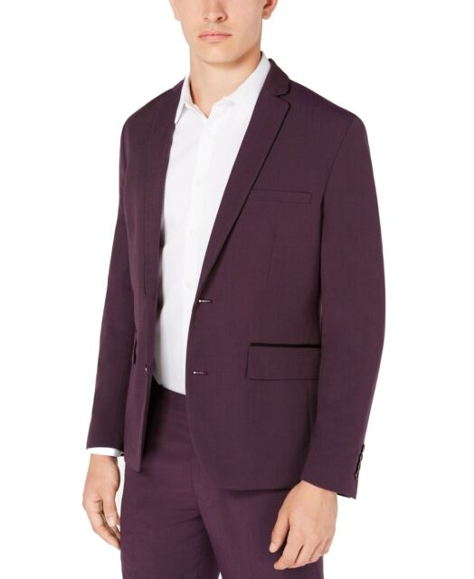INC Mens Sport Coat Purple Size Large L Two-Button Notched Slim Fit $129 #237