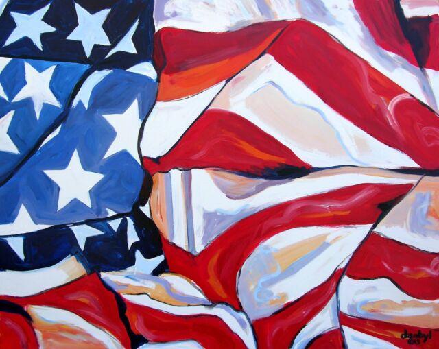 USA FLAG Original Fine Art PAINTING DAN BYL Modern Contemporary Huge 4x5ft