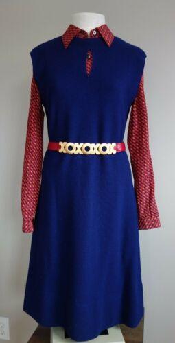 Vintage Designer Pauline Trigére Dress Navy Blue H