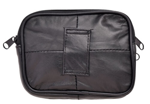 Mens Ladies Genuine Nappa Leather Twin Zip Coin Card Cash Key Security Pouch