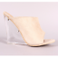 Cape-Robbin-COTTON-CANDY-Nude-Faux-Suede-Open-Toe-Clear-Lucite-Wedge-Heel-Mule thumbnail 1