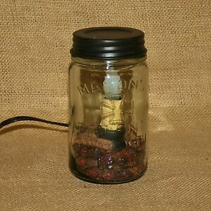 Pint-Mason-Jar-Electric-Table-Light-Accent-Night-Lamp-Primitive-Country