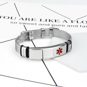 Women-Men-Silver-Medical-Alert-Bracelet-Watch-Tag-Free-Engraving-Nice