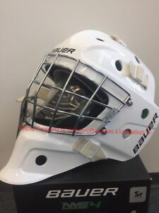 4a3d030bc19 Details about Bauer S17 NME 4 Ice Hockey SR Goalie Mask! Helmet Facemask  Black White Senior