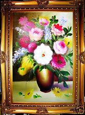 """ROSE LILY GERBERA DAISY TINY FLOWER 24"""" oil painting wall decor art gift 94"""
