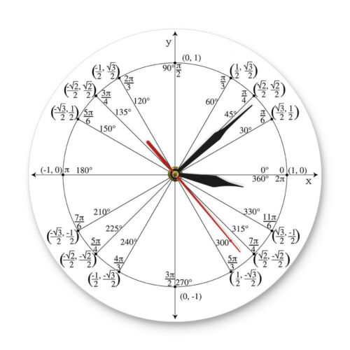 Unit Circle Math Teacher Wall Clock Trigonometry Pre Calculus Classroom Decor