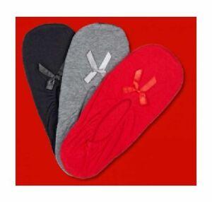 Damen-Hausschuhe-Hausballerinas-Ballerina-Pantoffeln-Rot-Schwarz-Grau