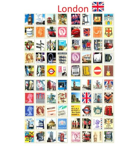 LONDON STAMP STICKERS Vintage Queen Royal Wedding Craft City Travel Deco Cards