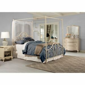 Image is loading Cream-Queen-Size-Metal-Canopy-Bed-Frame-Home-  sc 1 st  eBay & Cream Queen Size Metal Canopy Bed Frame Home Bedroom Living ...