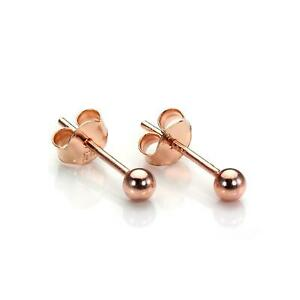 Rose-Gold-Plated-Sterling-Silver-3mm-Ball-Stud-Earrings-Studs-Earring