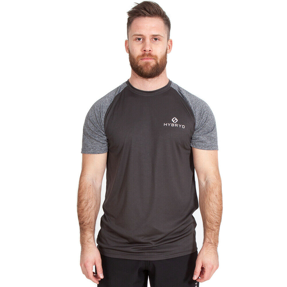 Hybryd Fit Mens Contrast T-shirt Slate for Crossfit Weightlifting