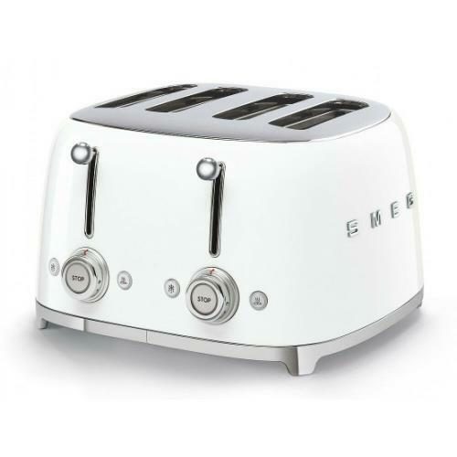SMEG TSF03WHEU GRILLE-PAIN TOSTA PAIN 4 COMPARTIMENTS 4 TRANCHES ANNI '50 BLANC