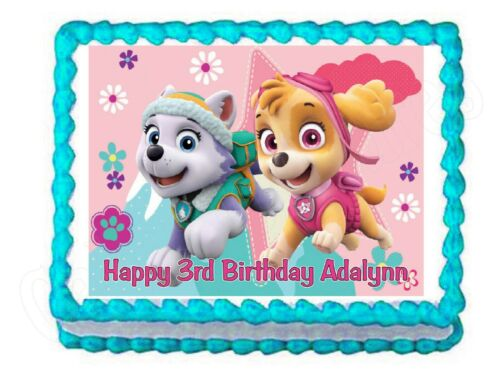 PAW PATROL Skye and Everest edible party cake topper frosting sheet image