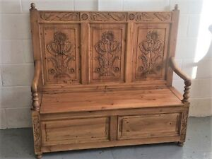 Phenomenal Details About Solid Old Wood Pine Monks Bench Pew Settle With Storage Cjindustries Chair Design For Home Cjindustriesco