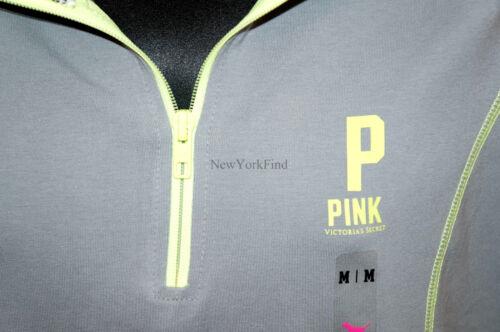 VICTORIA/'S SECRET LOVE PINK JACKET Half Zip Up Sweater Shirt Yoga Neon Green P