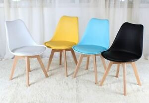 Image Is Loading 4x Charles Eames Style Dining Chairs With Solid