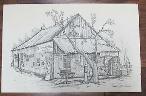 Original-Landmark-Drawing-Print-Lubbock-Post-Office-Dedicated-and-Signed-Ricardo