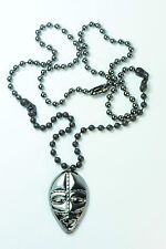 MENS AZTEC GUN METAL / MATTE BLACK AFRICAN WARRIOR TRIBAL HEAD PENDANT (CL11)